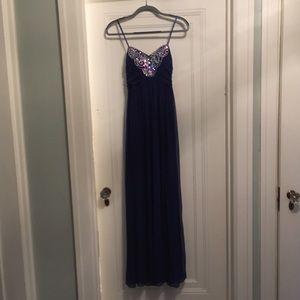 Strapless Navy Blue and Rhinestone Prom Dress